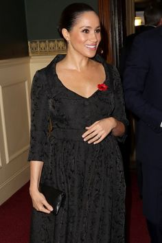 Best Photos of Prince Harry, Meghan Markle, Prince William and Kate Middleton at Remembrance Service - Meghan, wore a belted black dress with floral detailing, and styled her hair in a low bun. Prince William And Kate, Prince Harry And Meghan, William Kate, Duchess Of Cornwall, Duchess Of Cambridge, Remembrance Service, Meghan Markle Photos, Royal British Legion, Princess Meghan