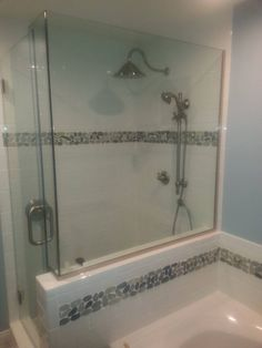Charmant Custom Shower With White Subway Tile, Bali Ocean Sliced Tile From  Pebbletileshop.com (