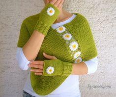 Handknit Fingerless Gloves with Crochet Daisies