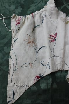 18th c Embroidered Linen Bodice by Trouvais on Etsy
