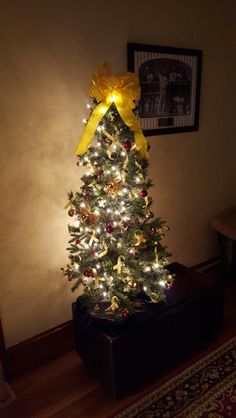 My yellow ribbon Christmas tree supporting military families, specially those deployed with my husband.