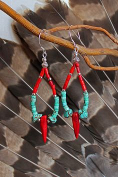 Coral and Turquoise Hoop Earrings... Beaded Native American Southwestern, via Etsy.
