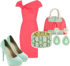 """""""coral and mint"""" by corvettegal99 on Polyvore"""