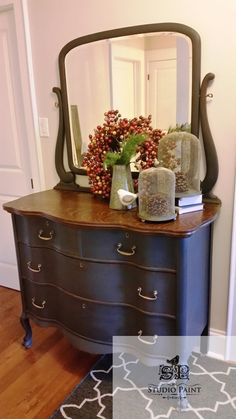 "Serpentine Painted Antique Dresser ""Lynn"""