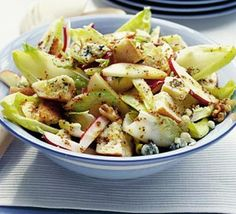 Winter Crunch Salad.  Ideal for vegetarians, Preheat the oven and cook the garlic bread according to packet instructions. While the bread is in the oven separate the chicory into leaves and toss in a large bowl with the celery, radishes, nuts and apples. Crumble the stilton in large chunks over the top. To finish the salad, cut half the garlic bread into the marked slices. Cut the remainder into chunks and toss into the salad with as much dressing as you like.  EASY AND SIMPLE!