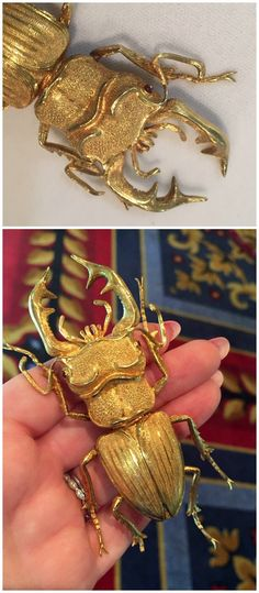 Incredible beetle brooch in textured gold by Buccellati. At DK Bressler.