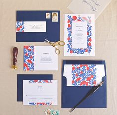 Floral Wedding Invitations by Rachel Marvin Creative | Southwestern inspired invitations with Woodgrain Embossed paper and silk screen textures.