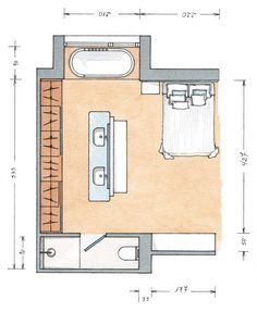 Nice layout idea for the sinks Master Bedroom Plans, Bedroom Floor Plans, House Floor Plans, Bathroom Layout, Bathroom Interior, Dispositions Chambre, Bedroom Dimensions, Bedroom Layouts, Large Bedroom