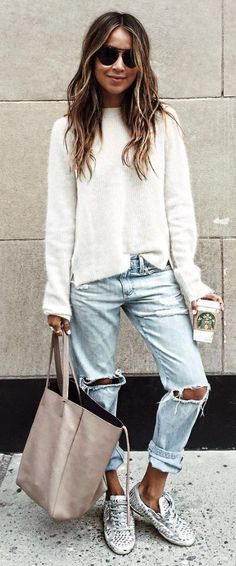 #sincerelyjules #spring #summer #besties | White Knit + Ripped Denim