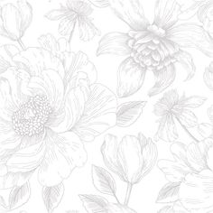 Created by Vallila designer Tanja Orsjoki, Poem is beautiful, floral and harmonious wallpaper. Known for her skillful illustrations of beautiful flowers and floral patterns, Poem continues a successful series of Vallila floral designs by Tanja Orsjoki. Grey And White Wallpaper, Contemporary Fabric, Designers Guild, Casablanca, Vinyls, Beautiful Flowers, Floral Design, Poems, Illustration