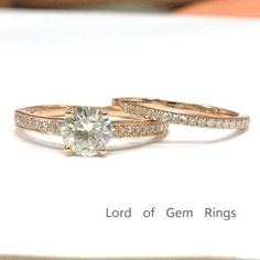 Round Moissanite Engagement Ring Sets Pave Diamond Wedding 14K Rose Gold 6.5mm, Eternity Band - Lord of Gem Rings - 1