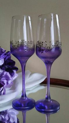 Purple champagne flutes set of two