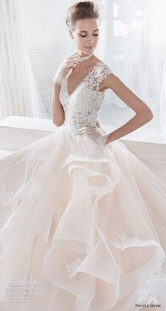 nicole spose 2018 bridal cap sleeves v neck heavily embellished bodice layered skirt romantic blush a  line wedding dress sheer button back chapel train (7) zv -- Nicole 2018 Bridal Collection