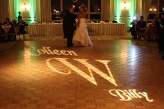 Learn how to setup do it yourself dance floor lighting in 3 easy gorgeous setup with a gobo monogram on the dancefloor at this amazing solutioingenieria Image collections