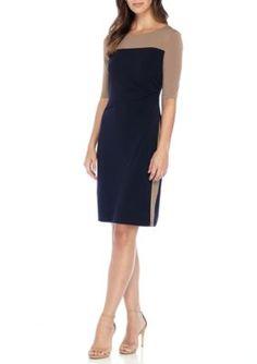 Connected Apparel Women's Colorblock Sheath Jersey Dress - Dark Khaki/Midnight - 10