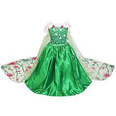 iEFiEL Mädchen Prinzessin Kostüm Kleid Cosplay Partei Verkleidung mit Umhang Grün 104-110 (Herstellgröße 120)