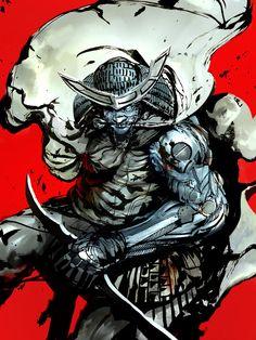 kekai kotaki - Ink sketch and digital over it Samurai Anime, Samurai Art, Female Character Inspiration, Character Design, Shadow Of The Colossus, Japanese Warrior, Alien Design, Ninja, Japanese Tattoo Designs
