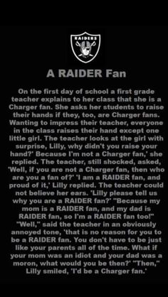 I'm a Forty-Niner fan first and foremost. But I love my bay area sports teams. And this, is just plain funny. Gotta love the loyalty of the Raiders fans!!