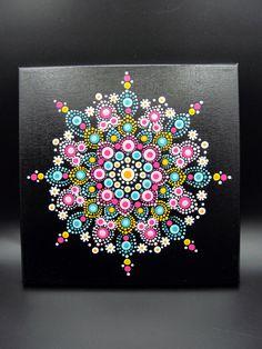 Dot Mandala Painting Room Decor Wall Art Teal Pink Yelow White