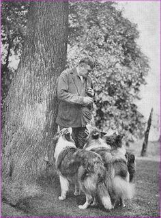 Albert Payson Terhune - Sunnybank Collies - Bert and three of his friends: Gray Dawn, CH Explorer, and CH Sigurdson