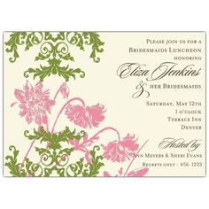 invitations bridesmaid luncheon | ... Lace Pink and Green Bridesmaids Luncheon Invitations | PaperStyle