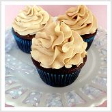 Dark chocolate cupcakes with peanut butter frosting!