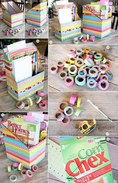 Washi Tape Magazine Organizers Jillee at One Good Thing by Jillee has cut and covered cereal boxes with washi tapes in Magazine Organization, Diy Organization, Diy Storage, Storage Boxes, Storage Ideas, Organizing, Washi Tape Diy, Washi Tapes, Mini Cereal Boxes