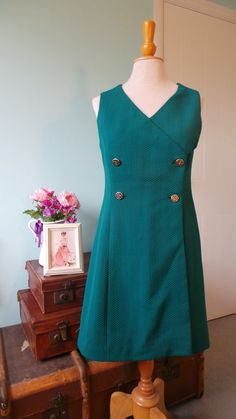 Teal Textured Double-Breasted Suit-Style 80's by HoneykinsVintage