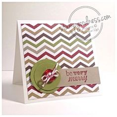 Holiday mini card (3x3) featuring Seasons of Style Designer Series Paper and the Be Very Merry stamp from Stampin' Up!