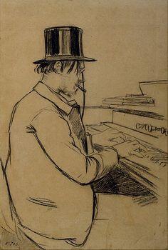 Harmonium: Santiago Rusiñol - Portrait of Erik Satie Playing the Harmonium - Google Art Project.jpg
