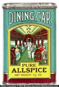 Early 1-1/2 oz. spice can (cardboard sides w/ metal top and base) for Dining Car brand (Norwine Coffee Co. St. Louis, Missouri) featuring trademark black waiter in railroad dining car (same image both sides). Sold at: Wm Morford Antiques Looking to Buy or Sell? Contact: Antique Advertising LLC