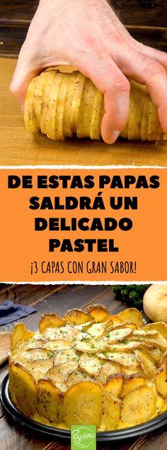 De estas papas saldrá un delicado pastel. ¡3 capas con gran sabor! #recetas #papas #patatas #pasteldepapa #pastelsalado #capas #sabor