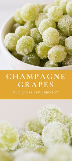 Ring in the year with sweet, sparkling Sugar Champagne Grapes – a poppable appetizer or dessert that will have everyone raving! Ring in the year with sweet, sparkling Sugar Champagne Grapes – a poppable appetizer or dessert that will have everyone raving! New Year's Eve Appetizers, Easy Appetizer Recipes, Dessert Recipes, New Year's Desserts, Gluten Free Puff Pastry, New Year's Food, Holiday Recipes, Nye Recipes, Yummy Recipes