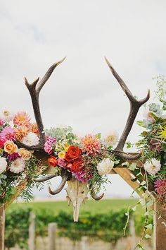 coloful floral rustic wedding arch with antlers