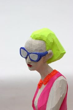 Exquisite Wood Sculptures of Modern Woman by Hideki Iinuma - Artist says. Modern Sculpture, Wood Sculpture, Sculptures, Beauty Women, Contemporary Art, Female, Outdoor Decor, Artist, Colorful
