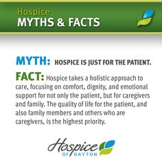 Myth: Hospice is just for the Patient. Truth: Hospice supports the patient & their family. Hospice Social Worker, Hospice Nurse, Holistic Care, Holistic Approach, Hospice Quotes, Good Work Ethic, I Love Someone, Life Care, Caregiver