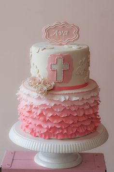 First Communion - Scalloped ruffles, roses, and lace appliques.