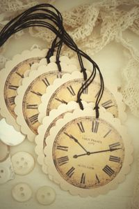 Vintage clock tags by Blanc & Caramel
