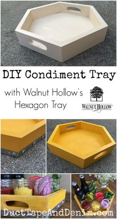 I was inspired by a bright yellow vintage crate that I saw online to make this DIY condiment tray using Walnut Hollow's hexagon tray & a few other supplies. Condiment Holder, Diy Clock, Wood Tray, Funky Junk, Wooden Diy, Wooden Boxes, Diy Box, Fall Diy, Home Decor Inspiration