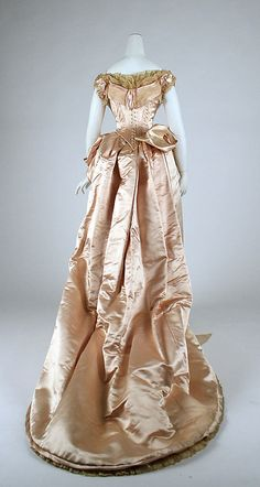 Silk and cotton evening ensemble/dress, 1883–1884. British. Back view.