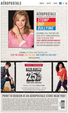 25% off everything at Aeropostale, or online via checkout promo 25FALLFLING coupon via The Coupons App