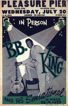 B.B. King ~ Pleasure Pier, Galveston, Texas, 1955   Artist: American Printing…