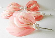 5 Wedding Hair Pieces - Bridesmaid Set Feather Hair Pins Feather Fascinator Light Coral, Ivory, 1920s, Gatsby