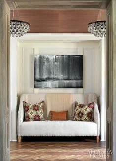 Cute idea to do with a closet area in foyer.  Delight in Design | Atlanta Homes & Lifestyles