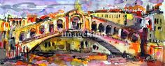 """Rialto Bridge Watercolor Painting Venice Italy"" by Ginette Callaway, Georgia // The original is sold. Now available small to large prints on paper or canvas. // Imagekind.com -- Buy stunning, museum-quality fine art prints, framed prints, and canvas prints directly from independent working artists and photographers."