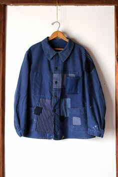 SASAKI-JIRUSHI(Vintage remake) French vintage patched moleskine work/chore jacket Remade by us From:France,1950s Label:Le Pigeon Voyageur