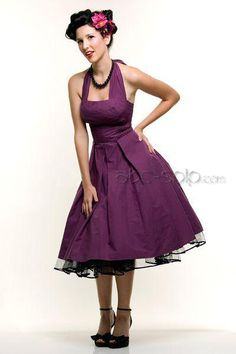 i LOVE THIS ONE FOR BRIDESMAID dress with boots!!!  super cute 1950s Vintage Evening Gowns Halter Eggplant Swing Dress, Cheap Wedding Dresses,Shoes, wigs and other fashion colletions are provided here.All are intensity and passion.