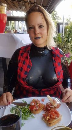 Latex casual catsuit in a restaurant