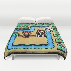 Super Mario 3 Level 1 Duvet Cover by Likelikes Mario Room, Nerd Cave, Geek Decor, Gamer Room, Geek Games, Mario Brothers, Super Mario Bros, Inspired Homes, New Room
