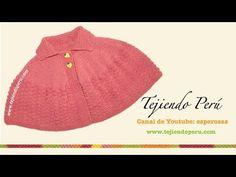 Cómo tejer una capa con cuello en dos agujas o palitos para niñas - YouTube